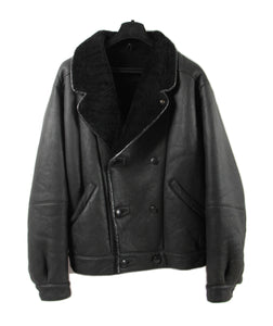 Black Leather Double Breasted Shearling Jacket, L - USA 42 - second_first