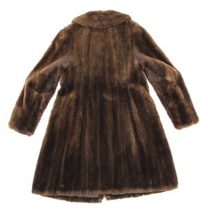 Brown Natural Soft Fur Teddy Coat, Size M