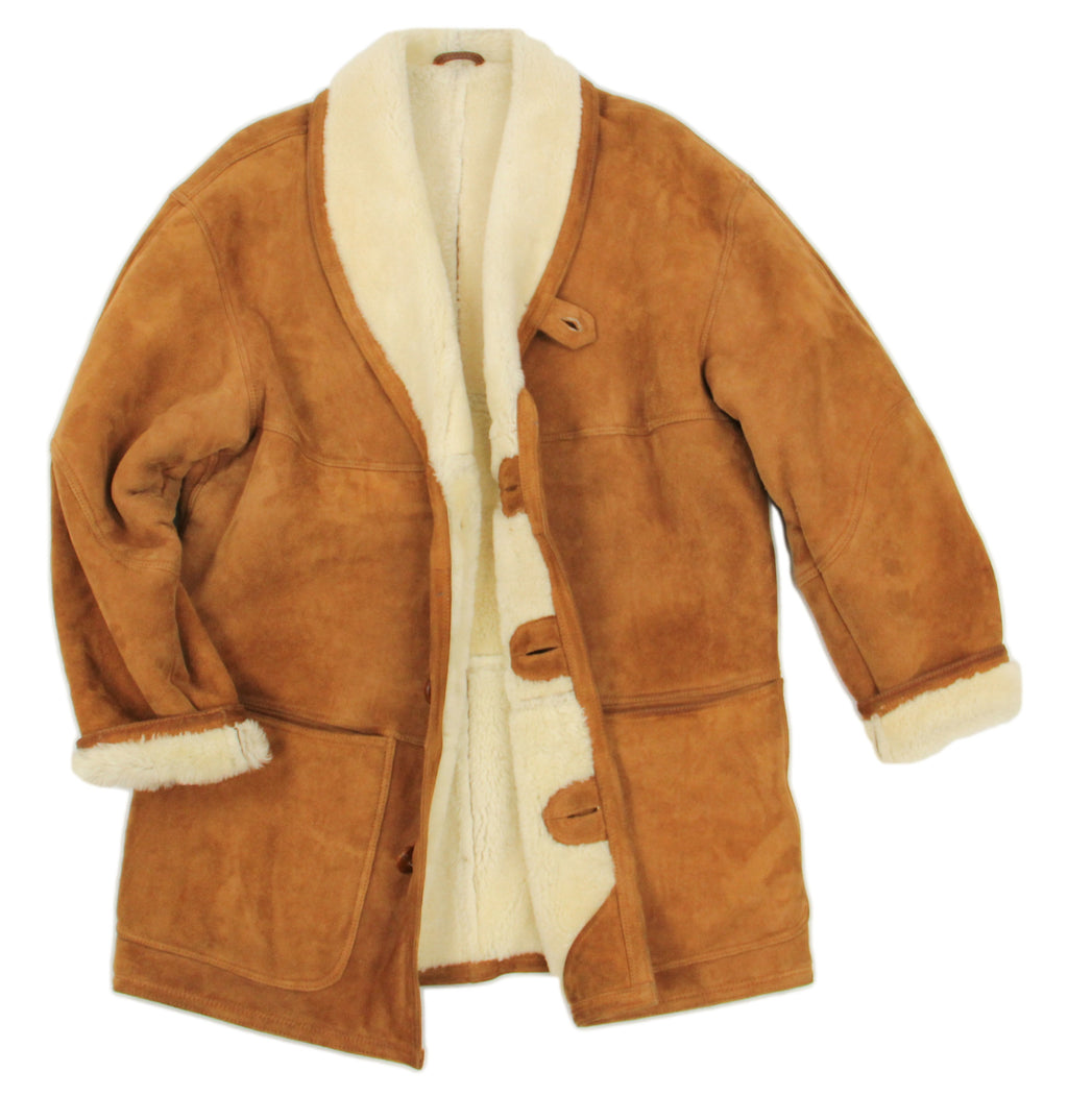 Brown Suede Men's Shawl Collar Lambsfur Shearling Coat, SIZE L