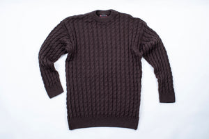Norwool Men's Brown Cable Knit Jumper, L