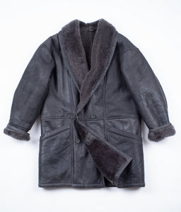 Gray Shawl Collar Shearling Leather Coat, SIZE USA 40