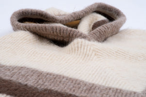 Icelandic Wool Eider Knit Cream Brown Hooded Poncho
