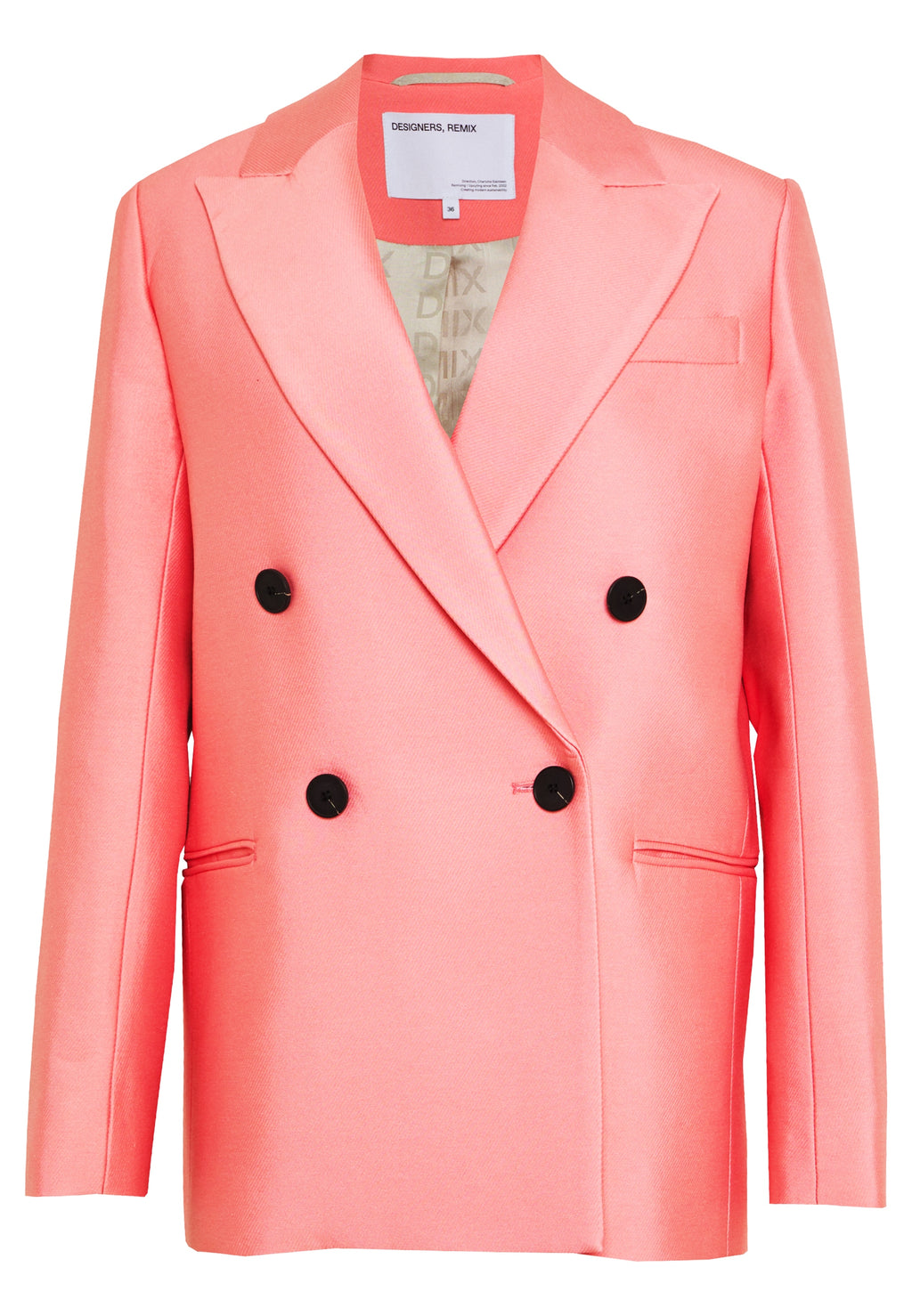 Designers Remix Hailey Recycled Cotton Double Breasted Pink Blazer, SIZE M