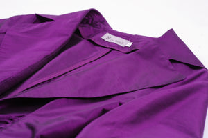 Silk Magenta Purple Blouse With Buckle & 3/4 Puff Sleeve, M