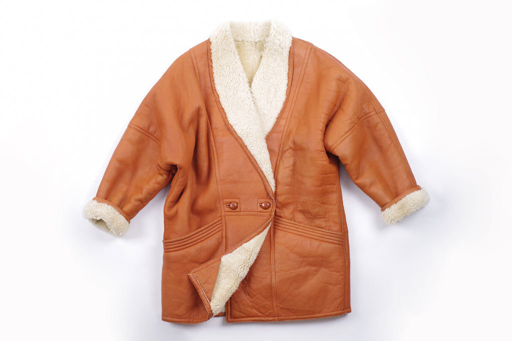 Women's Vintage Terracotta Double Breasted Shearling Cocoon Coat, M
