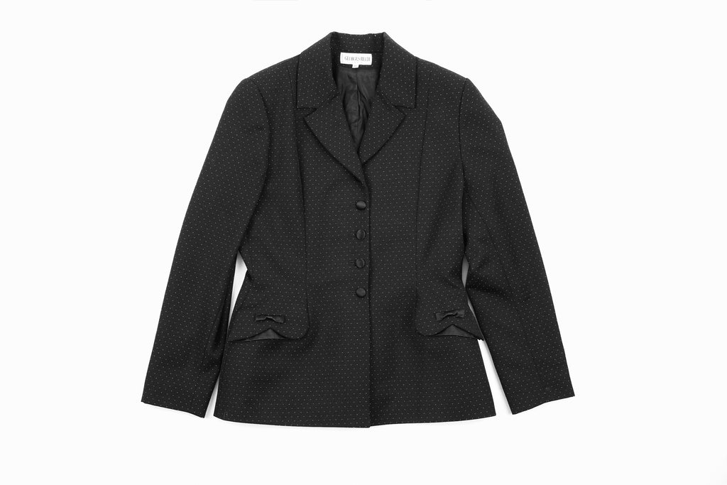 Georges Rech Dotted Black Blazer With Silk Bows and Buttons, SIZE L