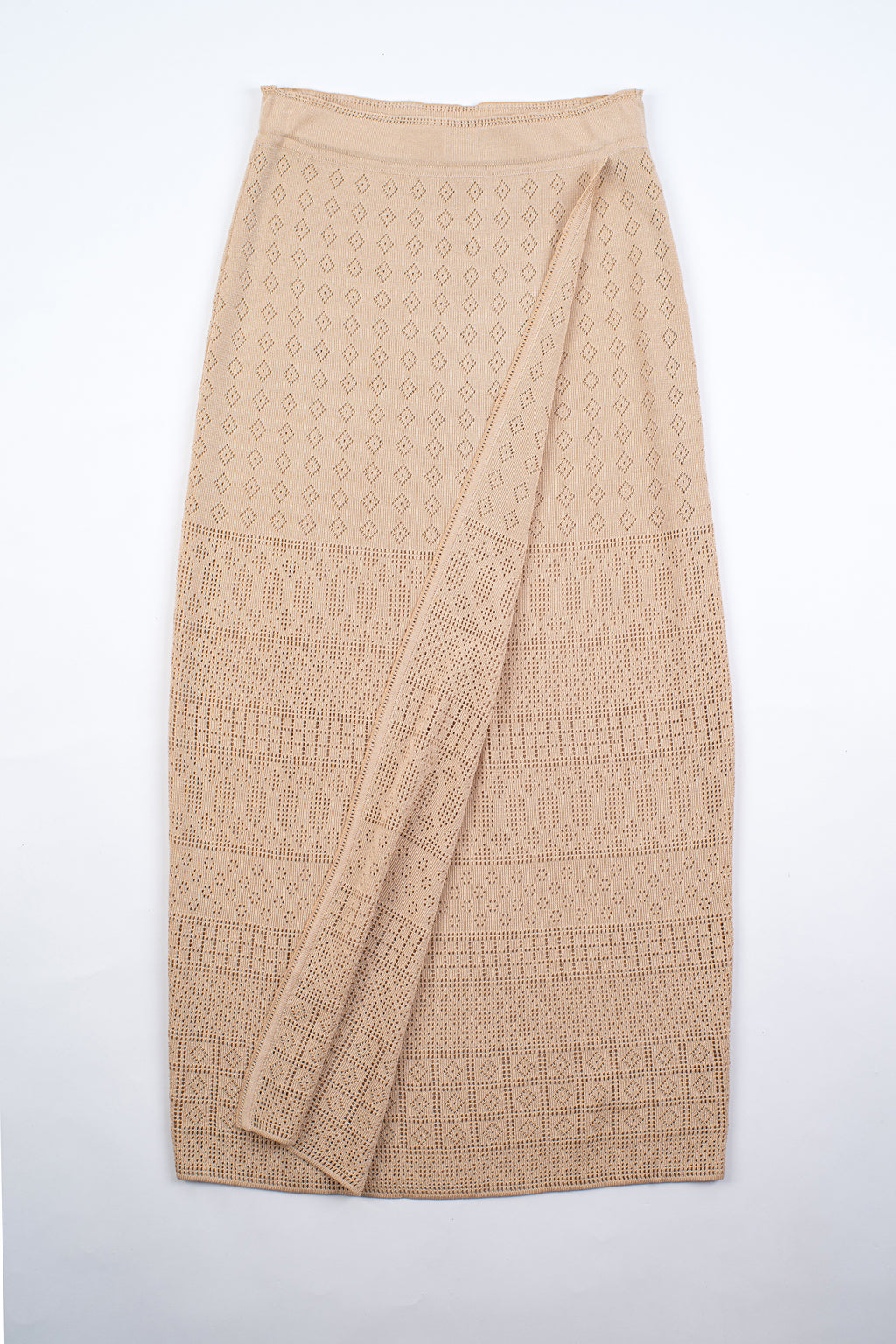 Escada Vintage Beige Crochet Knit Silk Blend Wrap Skirt, S