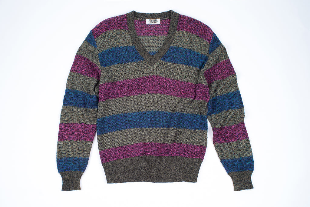Vintage Missoni Men's V-Neck Cotton Linen Knit Jumper, Men's XL