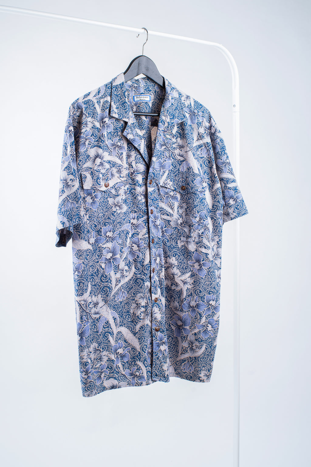Yves Saint Laurent Vintage Men's Cotton Hawaiian Blue Shirt, Size L