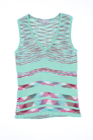 Missoni Mint Green V-neck Sleeveless Top, Size XS