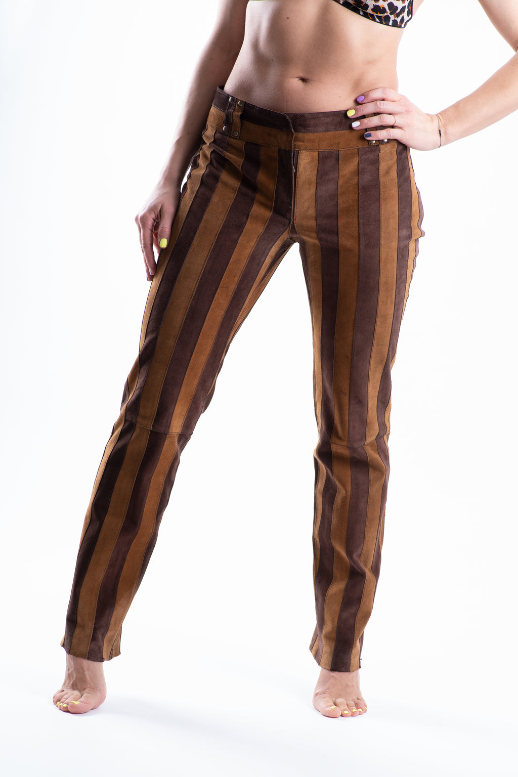 Vintage Dolce & Gabbana Brown Striped Suede Cigarette Pants, SIZE XS
