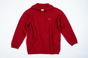 LACOSTE men's Red Wool Blend Zip Neck Jumper, XL