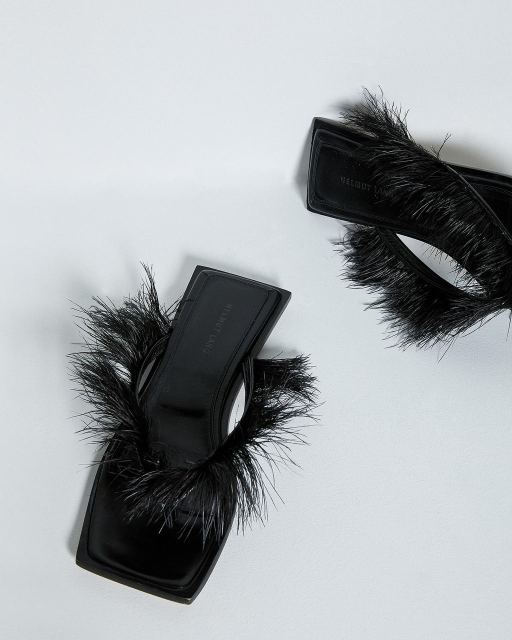 Helmut Lang Black Feather Square Toe Thongs, Size 36, US 6