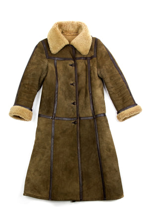 FRIITALA Women's Shearling Sheepskin Long Coat, SIZE XS - secondfirst