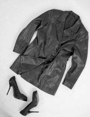 Butter Soft Leather Double Breasted Black Tailored Blazer / Dress, M