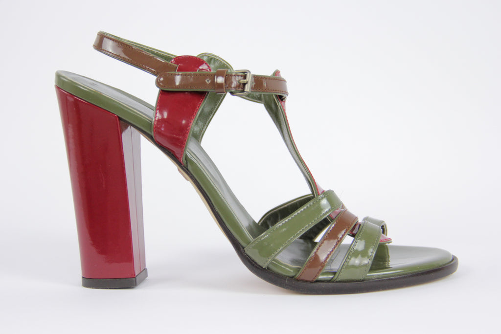 BALLY Strappy Patent Leather Heel Sandals, EU 39.5, USA 9
