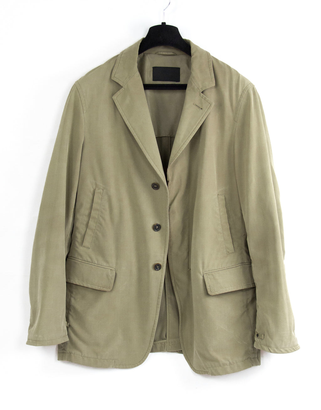 PRADA Khaki Brown Sport Coat Jacket With Leather Details, SIZE L - secondfirst