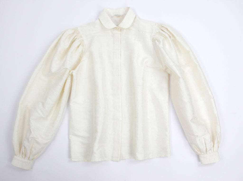 Champagne White Pure Raw Silk Puff Sleeve Shirt, XS
