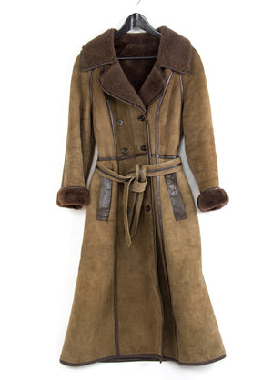 Women's Shearling Sheepskin Long Brown Coat by Amoress, SIZE S - secondfirst