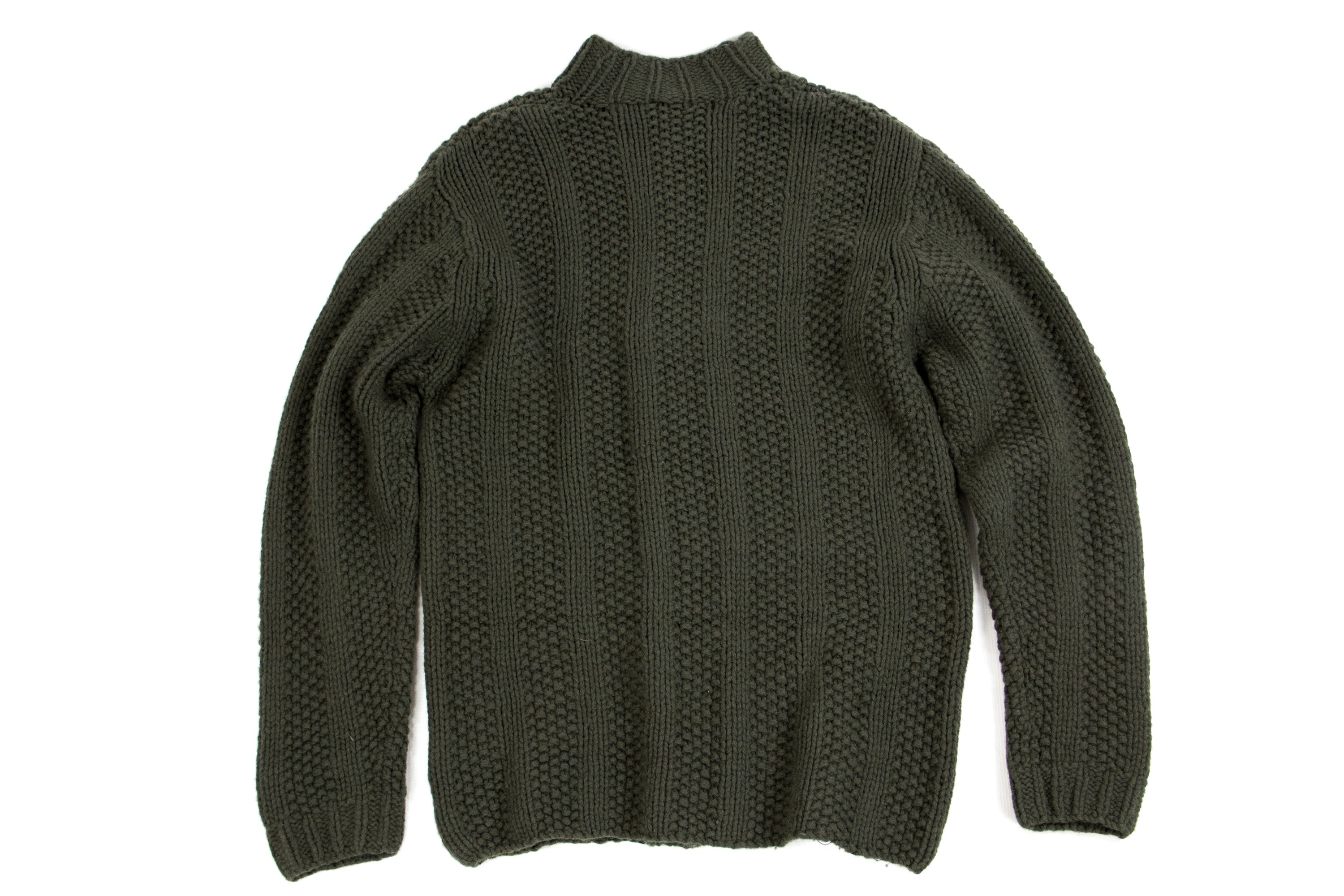 TIMBERLAND Chunky Lambswool Dark Green Handknit Jumper Sweater SIZE XL - secondfirst
