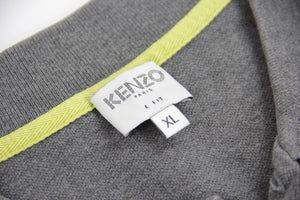 KENZO men's K Fit Gray Polo Shirt, XL
