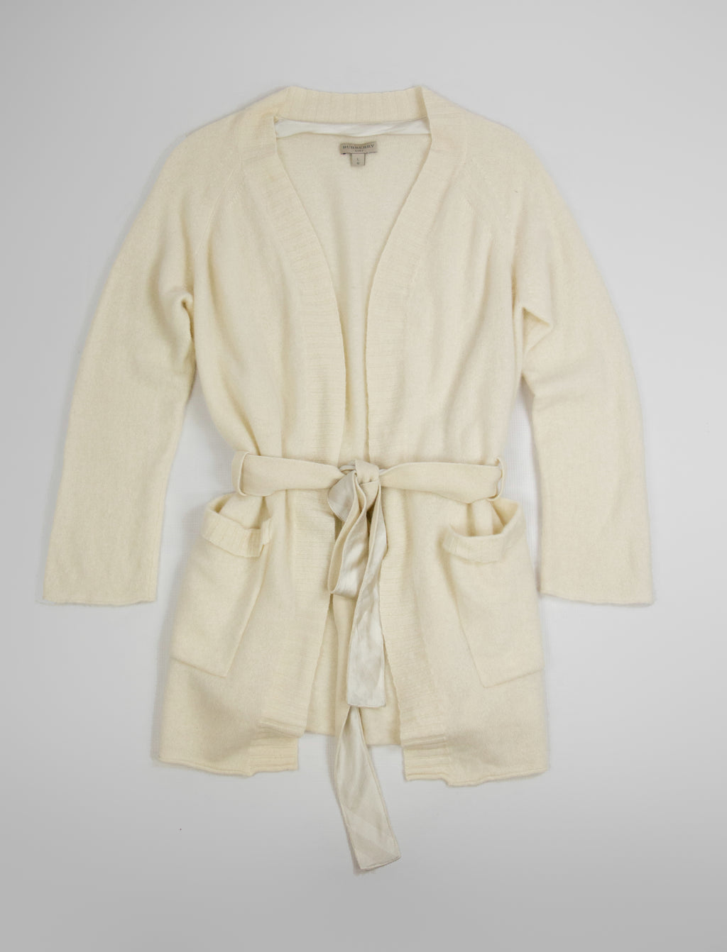 BURBERRY Body Cream White Belted Cashmere Cardigan, SIZE L - secondfirst