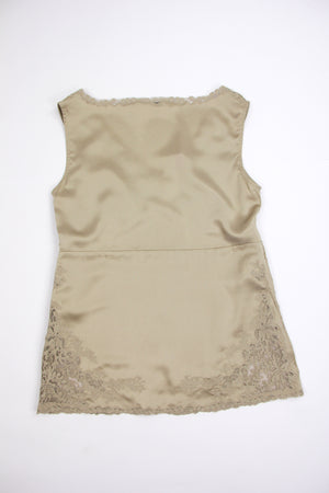 R.E.D. Valentino Nude Silk V-neck Camisole With Lace, M