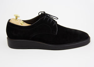 LANVIN Black Suede Leather Lace Up Derbie Shoes SIZE USA 10 - secondfirst