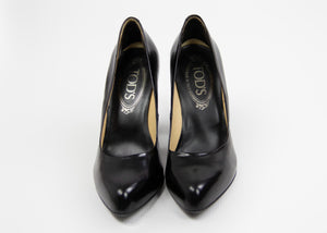 TOD'S Classic Black Smooth Leather Pumps SIZE USA 4, EU 34 - secondfirst