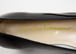 SALVATORE FERRAGAMO Black Patent Leather Pumps SIZE USA 6.5, EU 37 - secondfirst