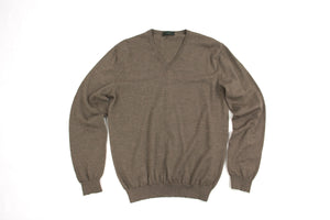 Zanone Italian Wool V-neck Light Brown Knit Jumper Size L - secondfirst