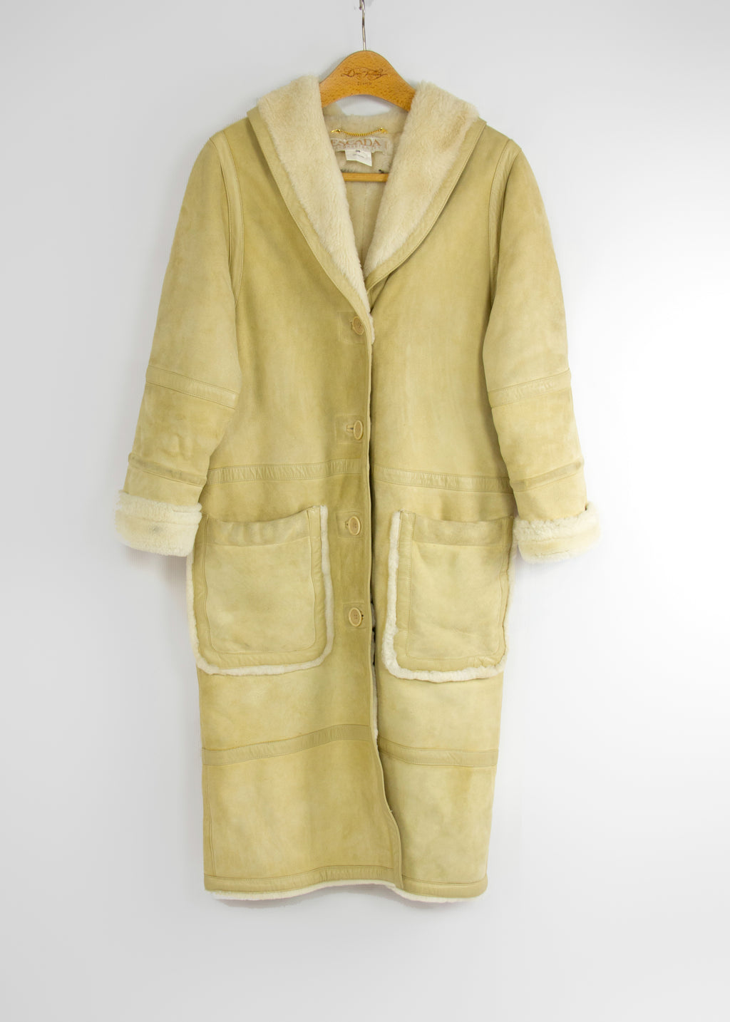 ESCADA Vintage Shearling Lambskin Coat, SIZE M - secondfirst