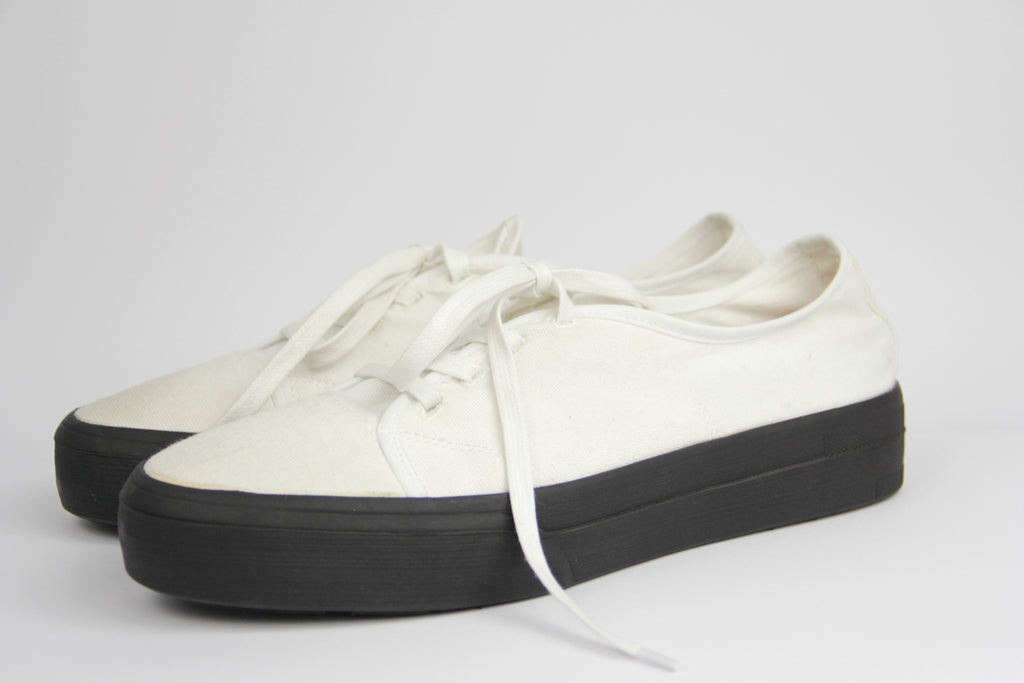 Jil Sander Cream White Stretch Canvas Sneakers, EU 40