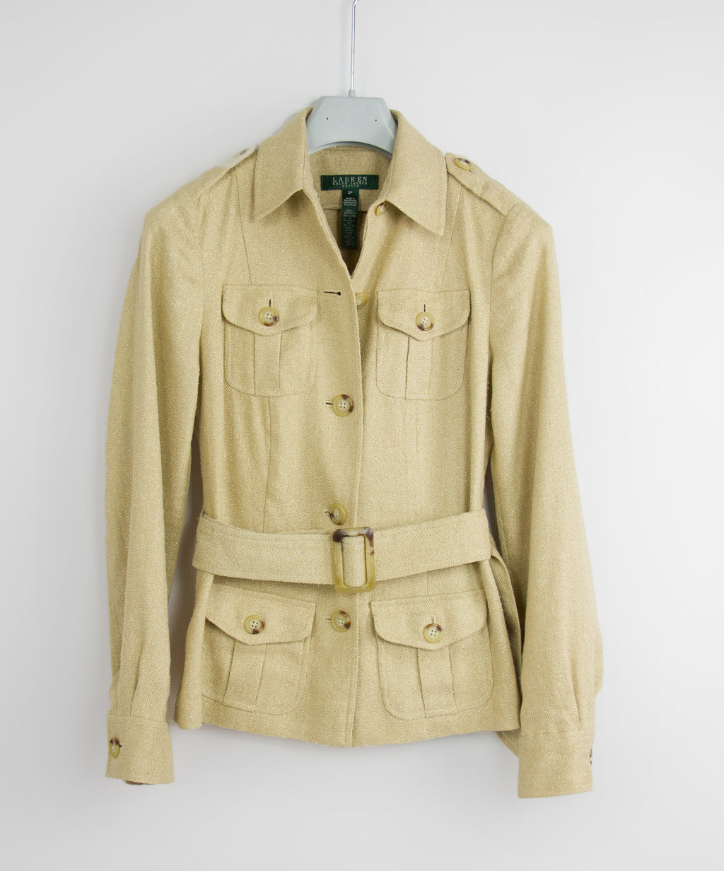 RALPH LAUREN Metallic Silk & Linen Blend Safari Style Jacket, SIZE 2P - secondfirst