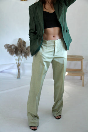 Piazza Sempione Silk Blend Pistachio Green Straight Leg Pants, SIZE S