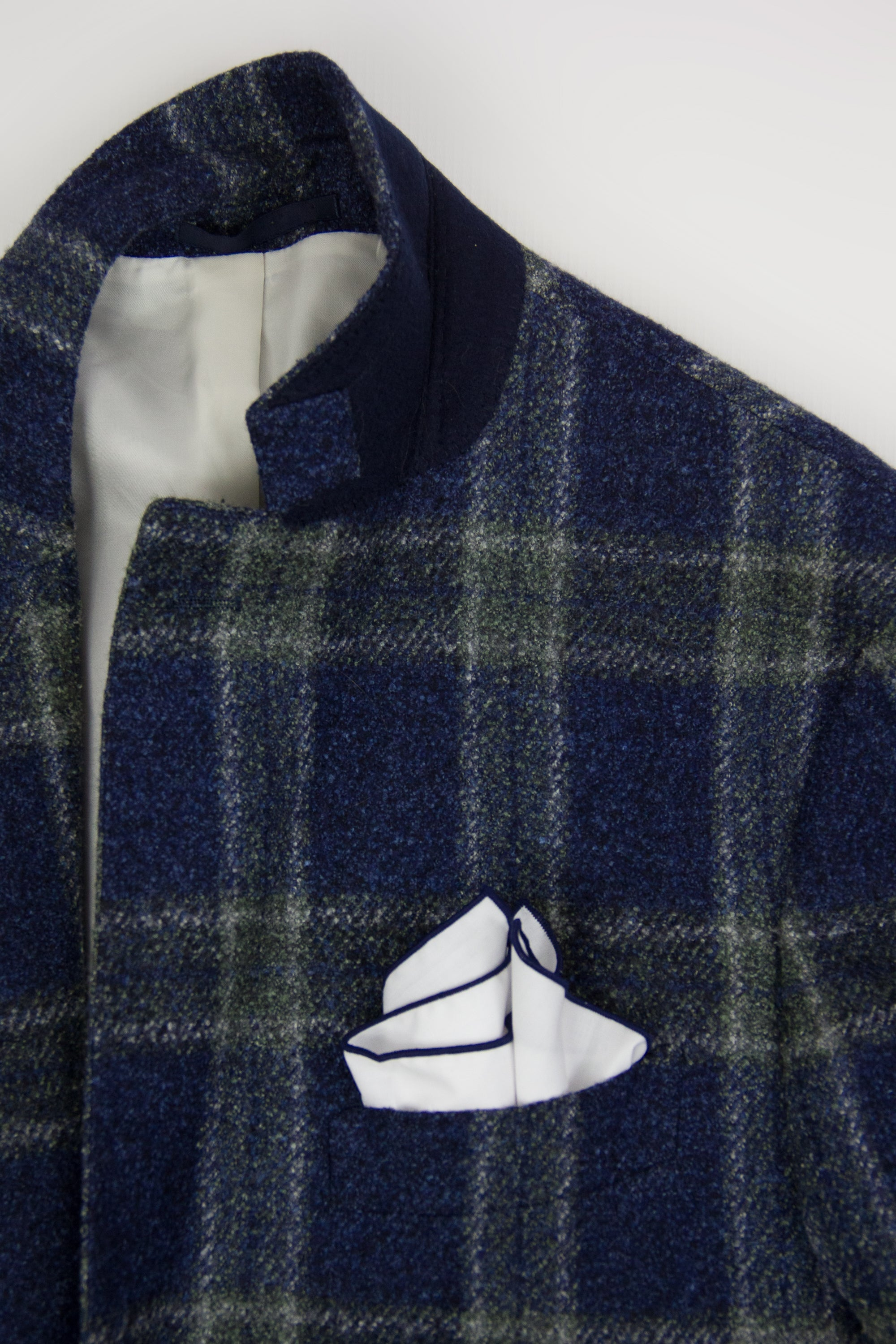 Suitsupply Wool Silk Linen Blue Plaid Blazer Sport Coat US 42R, EU 52 - secondfirst