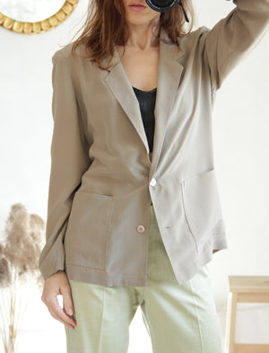 Vintage Pure Silk Tan Brown Women's Blazer Jacket, SIZE S