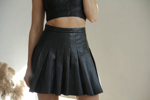 All Saints Black Flore Pleated Leather Skirt, SIZE US 4, EU 36, UK 8