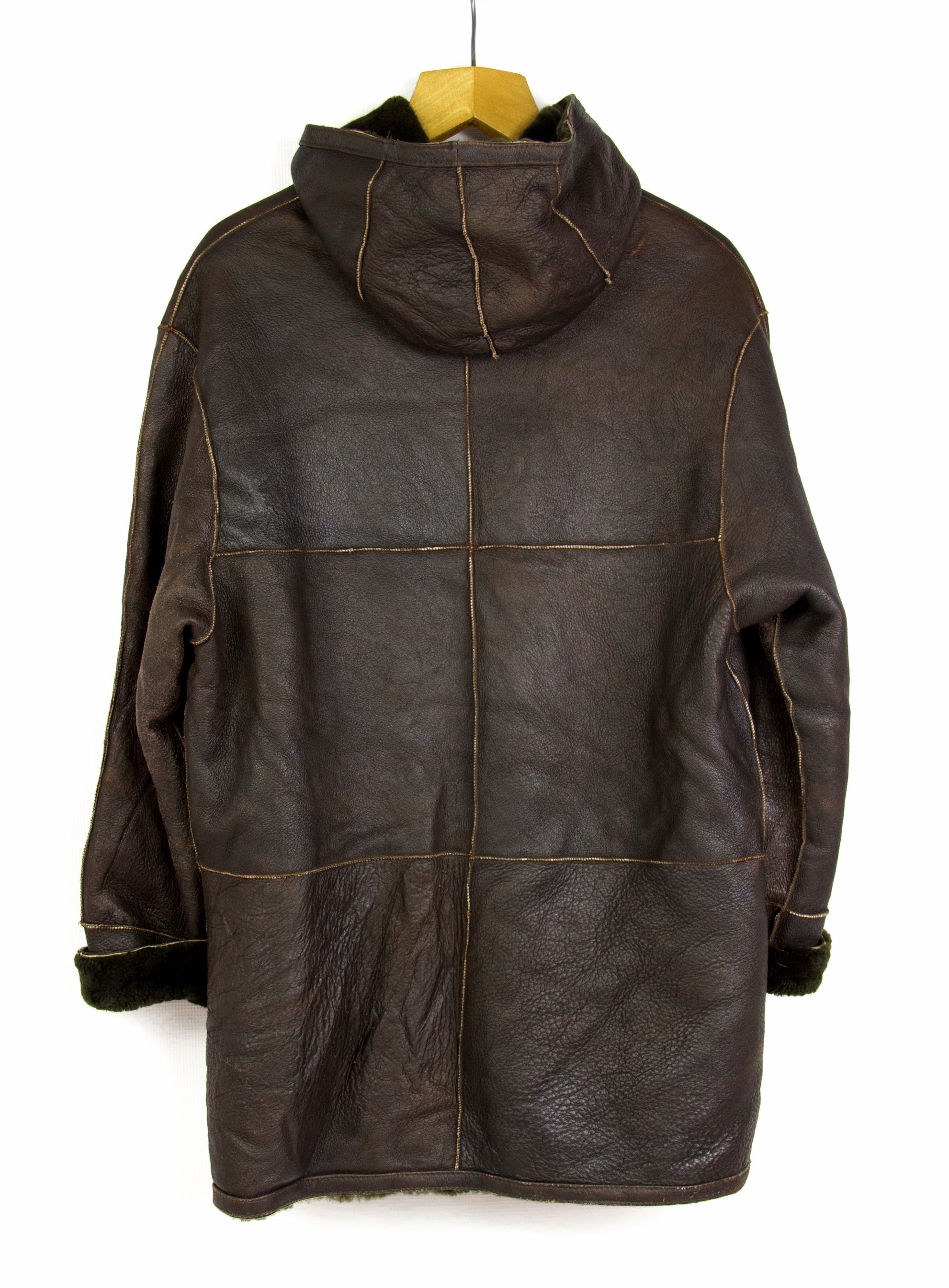 Vintage Double Faced Hooded Shearling & Leather Coat Jacket, 38 - secondfirst