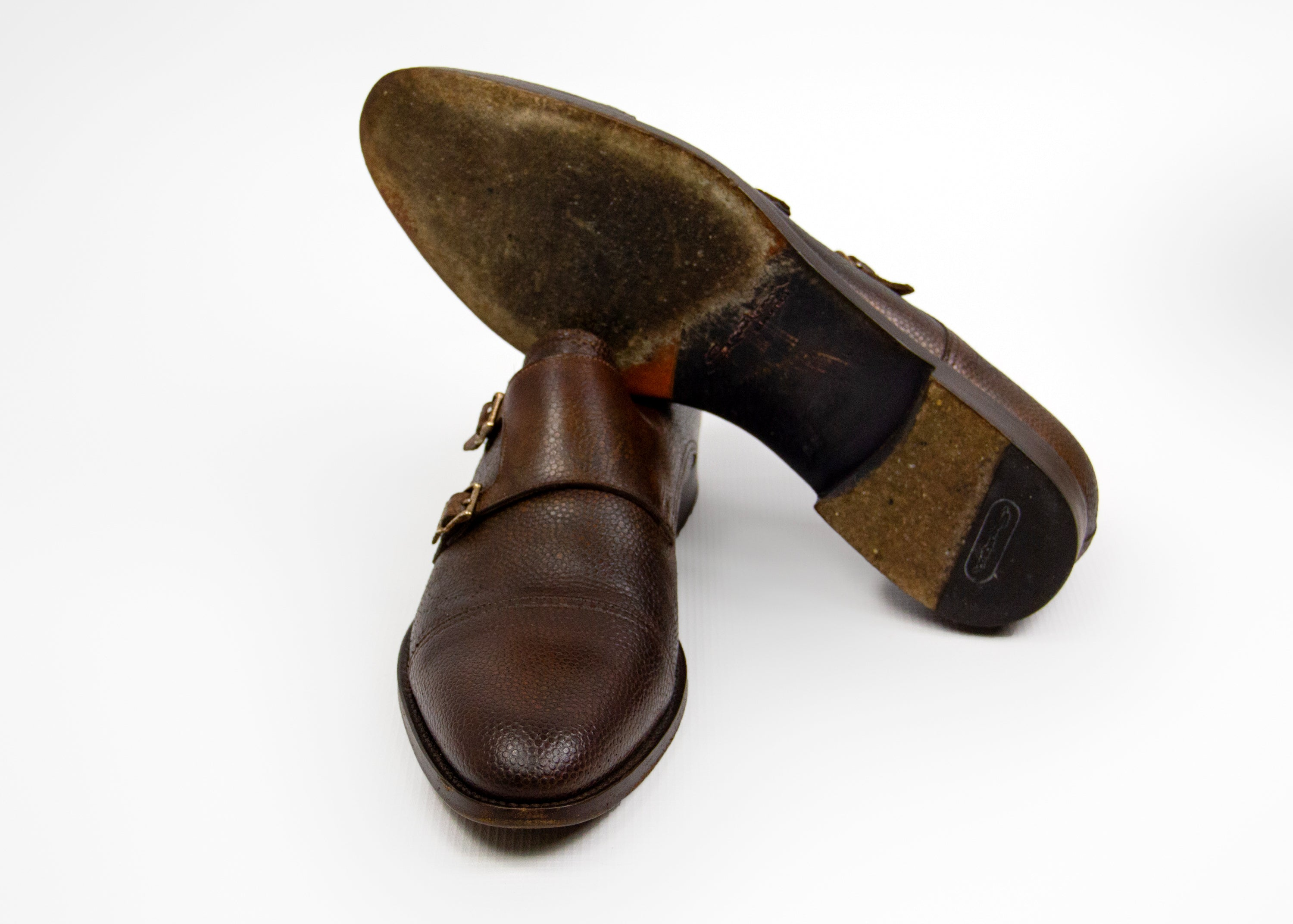 SANTONI Double Buckle Monk Strap Shoes USA 9.5 - secondfirst