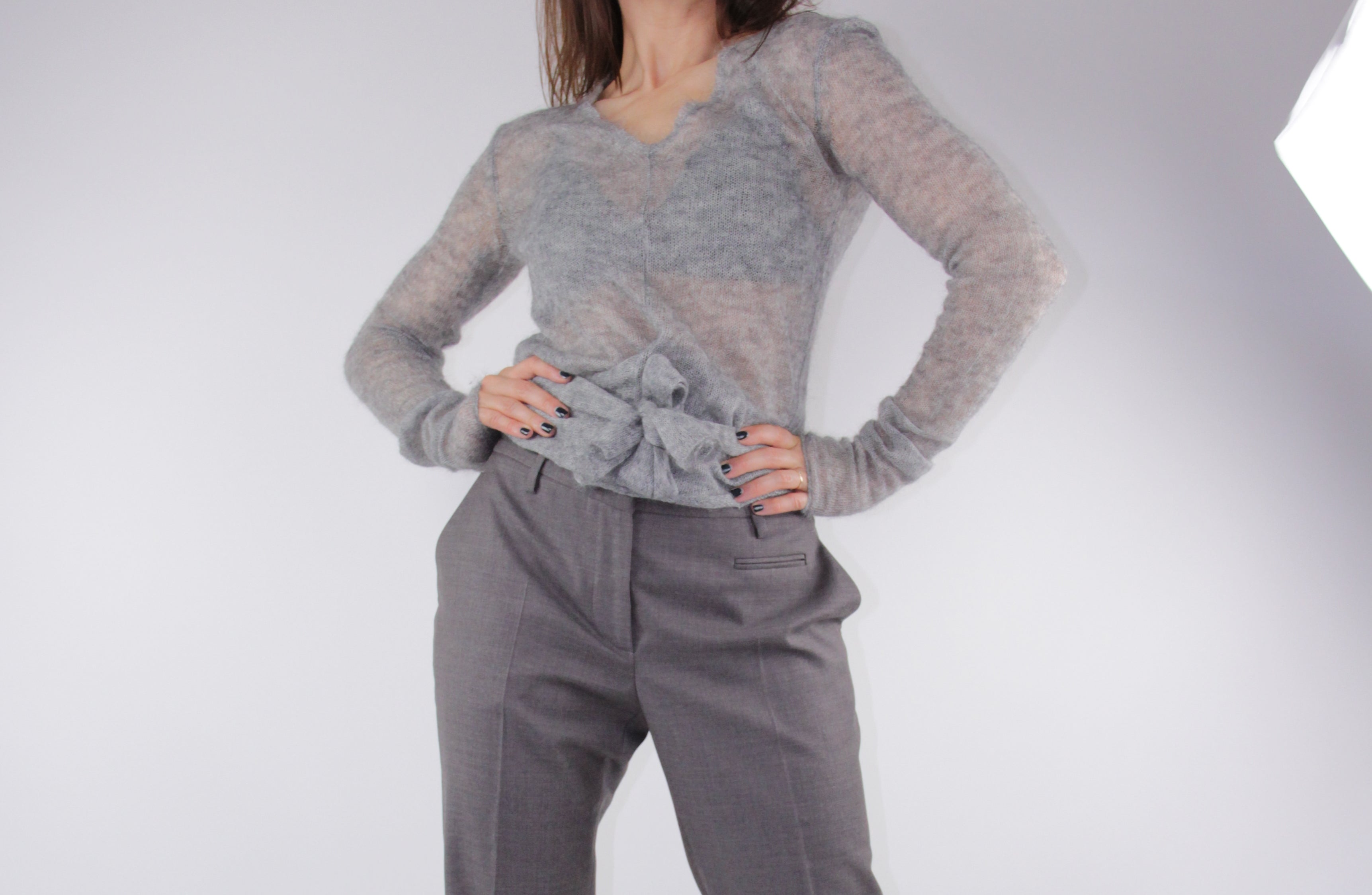MALO Thin Knit Gray Mohair-Cashmere Sweater, S
