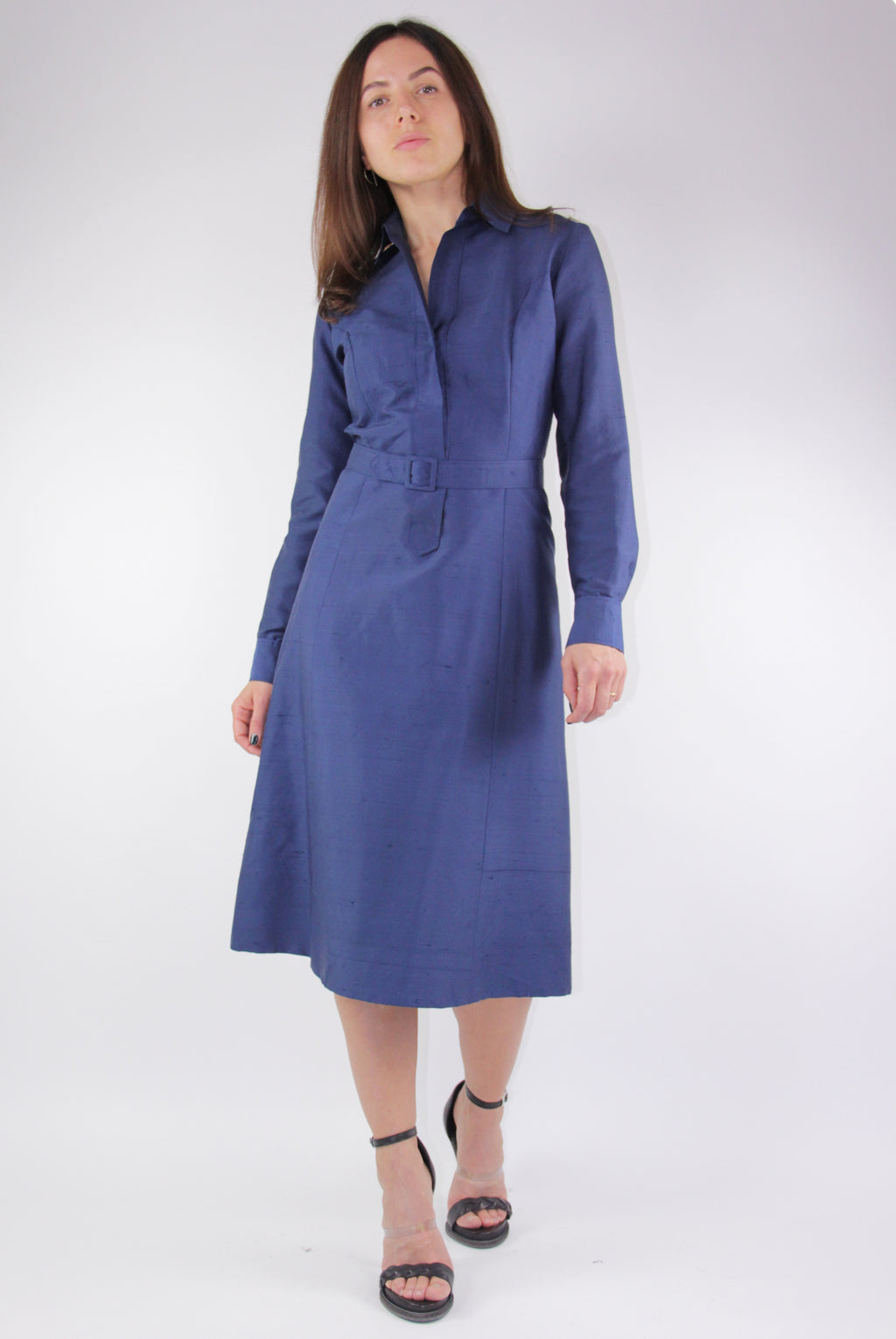 Hand Made 100% Silk Blue Midi Dress, Size S