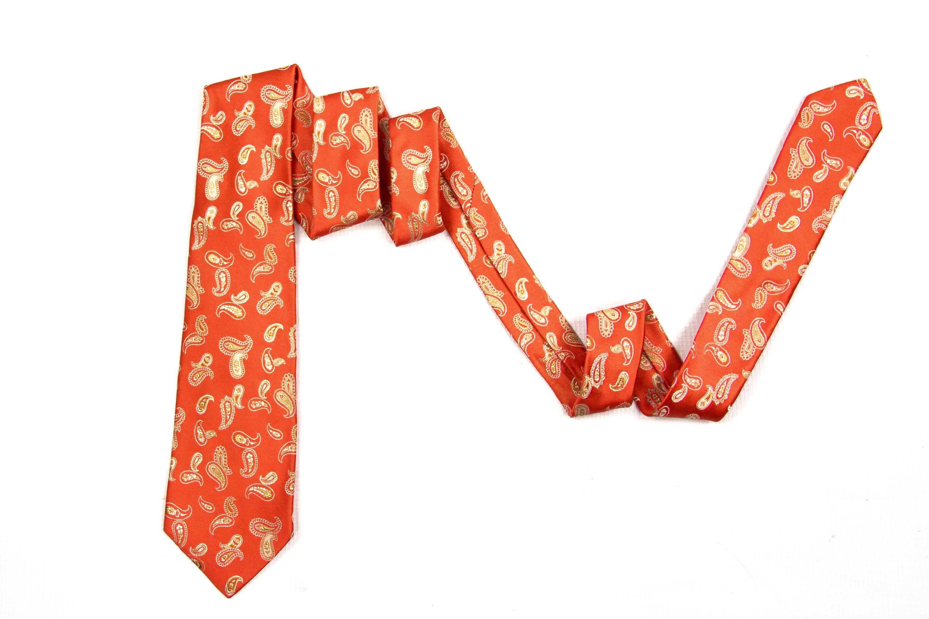Kiton Napoli Coral Woven Silk Paisley Embroidered Tie - secondfirst