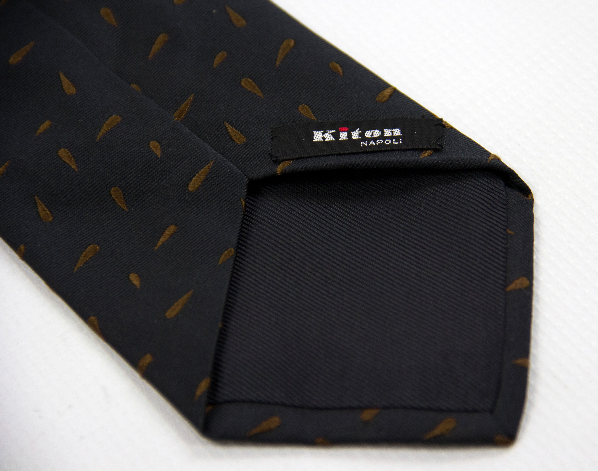 Kiton Napoli Black Brown Woven Silk Paisley Embroidered Tie - secondfirst