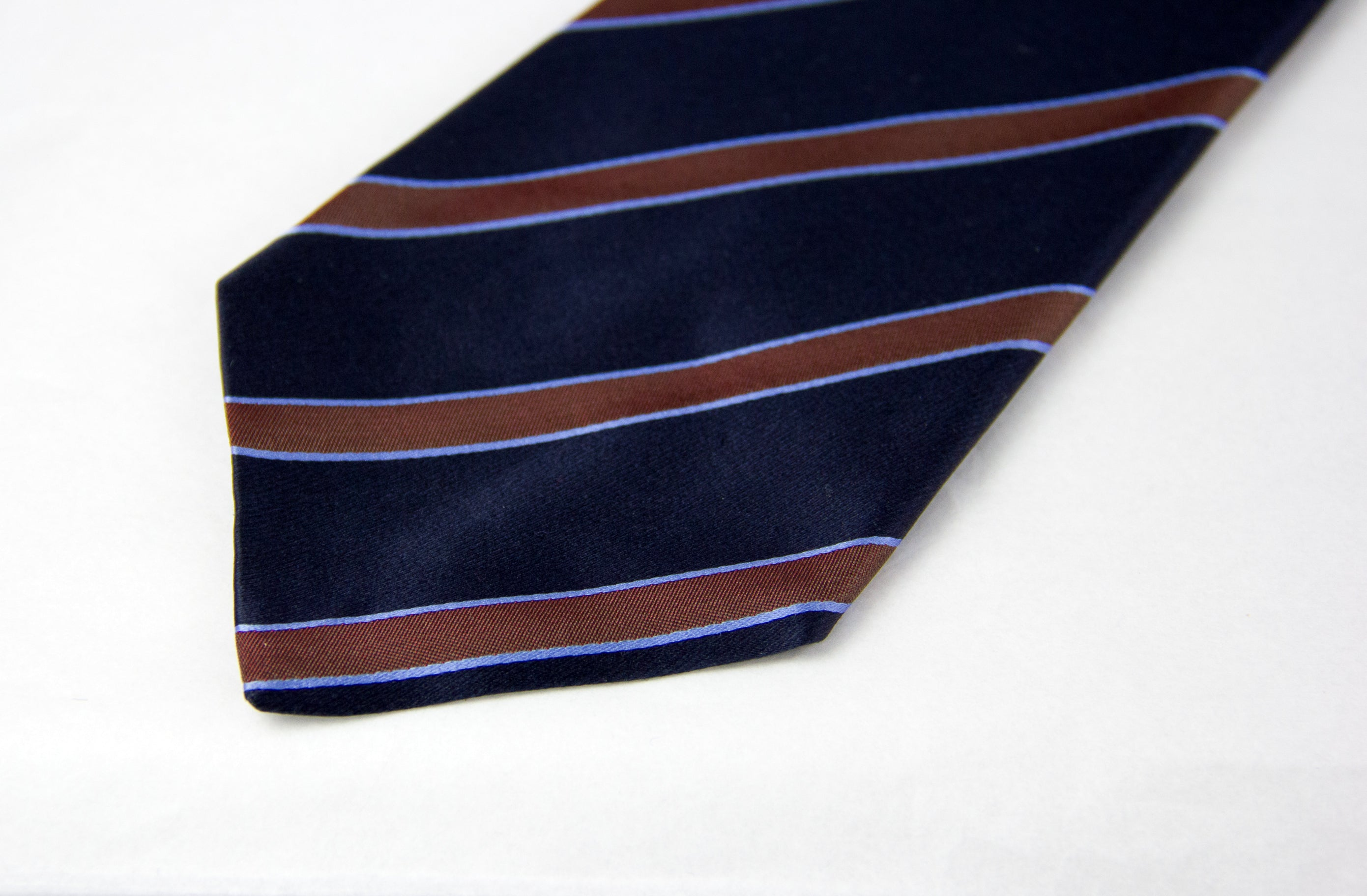 Kiton Napoli Navy Blue Brown Woven Silk Tie - secondfirst