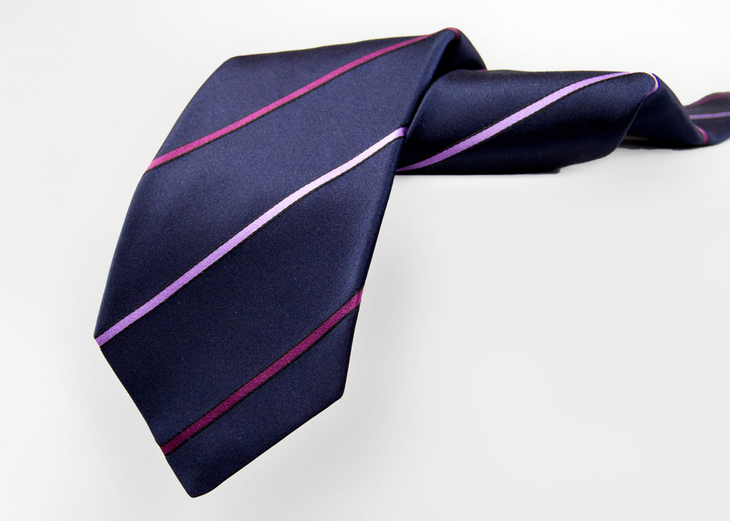 Kiton Napoli Navy Purple Pink Woven Silk Tie - secondfirst