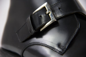 GUCCI Monkstrap Buckle Black Leather Ankle Boots USA 7 - secondfirst