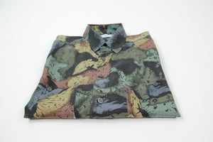 Vintage 100% Silk Men's Short Sleeve Camouflage Print Shirt, SIZE S