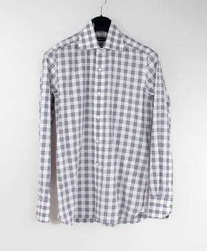 TOM FORD Slim Fit 100% Cotton Plaid White Shirt 39, 15 1/2 - secondfirst