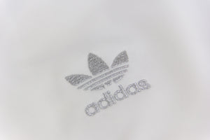 Adidas Originals White Track Jacket with Silver Stripes, Size M - secondfirst